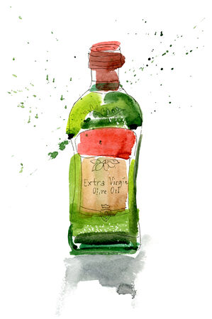 savor: A watercolor bottle of olive oil on white background Illustration