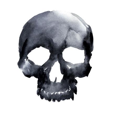 watercolor black skull. vector illustration