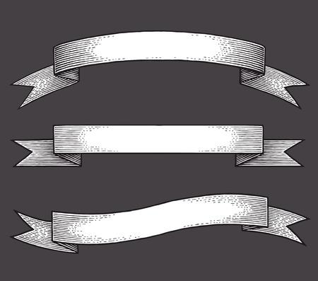 ruban noir: Bannières de ruban Vintage, tiré par la main ensemble. Illustration