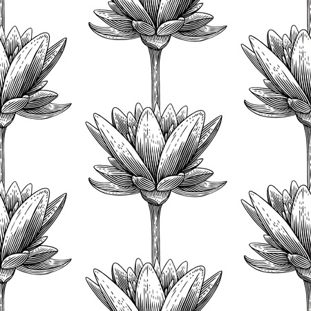 woodcut: Engraved seamless pattern with lotus Illustration