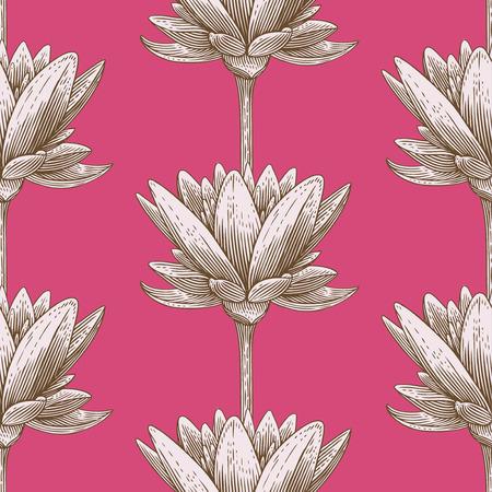 buddha lotus: Engraved seamless pattern with lotus Illustration