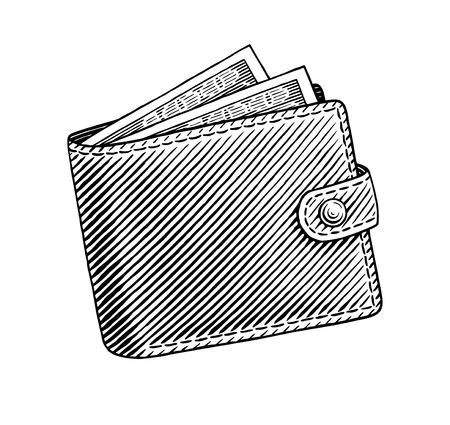 Gegraveerde illustratie van de portefeuille vol met dollars