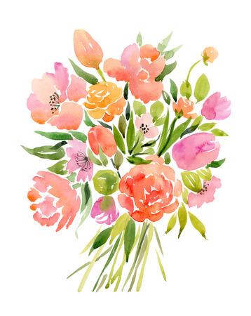 꽃의 수채화 꽃다발. 벡터 일러스트 레이 션 일러스트