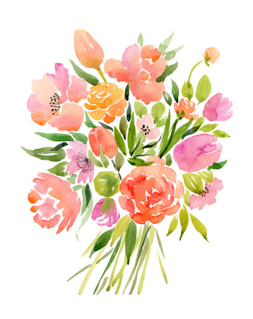 green water: Watercolor bouquet of flowers. Vector illustration