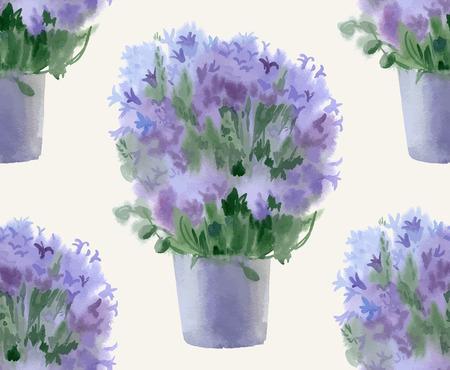 campanula: Watercolor seamles pattern with campanula. Vector illustration