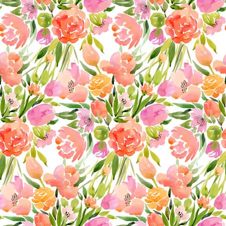 motif floral: vecteur Aquarelle pattern d'éléments floraux Illustration