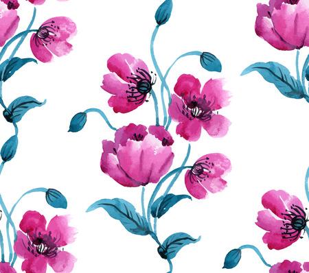 Watercolor vector naadloze patroon met klaprozen