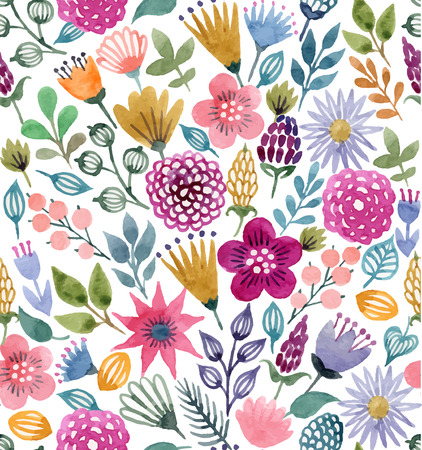 color pattern: Watercolor vector seamless pattern with floral elements