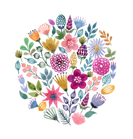 Aquarell Vektor nahtlose Hintergrund mit floralen Elementen