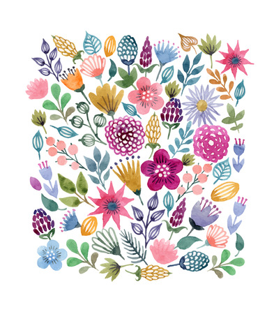 Watercolor vector seamless background with floral elements