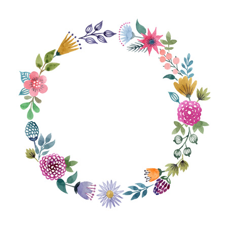 Hand-drawn watercolor floral frame made in vector Vettoriali