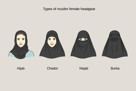 Moslim vrouwelijke hoofddeksels. Traditionele hijab collectie