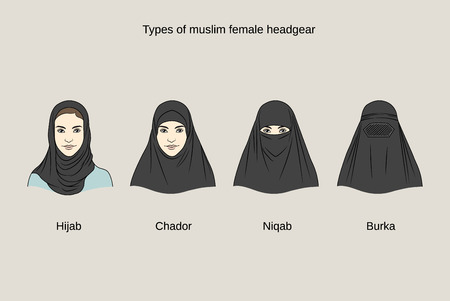 girl: Muslim female headgear. Traditional hijab collection