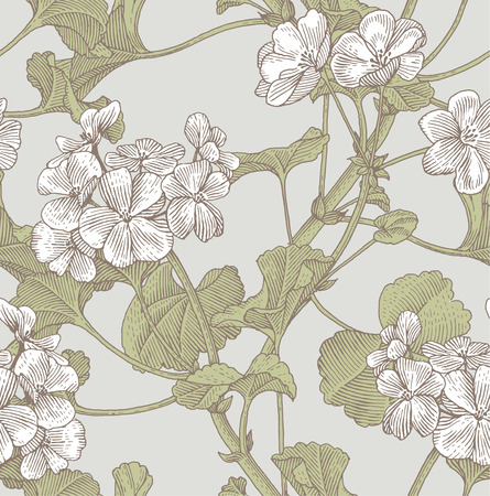 Sprigs of blooming geranium. Engraved seamless pattern Vettoriali