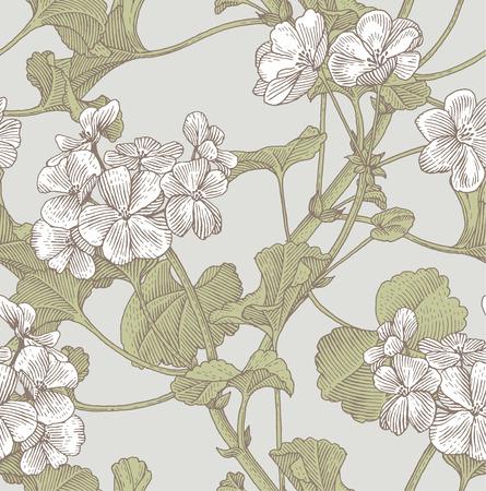 line pattern: Sprigs of blooming geranium. Engraved seamless pattern Illustration