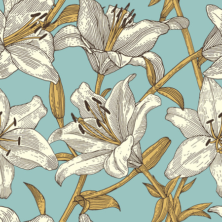engrave: Sprigs of blooming lily. Engraved seamless pattern