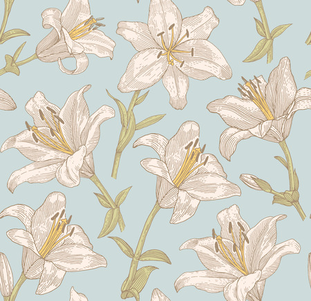 lily flower: Sprigs of blooming lily. Engraved seamless pattern