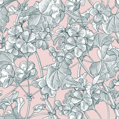 vintage floral pattern: Sprigs of blooming geranium. Engraved seamless pattern Stock Photo