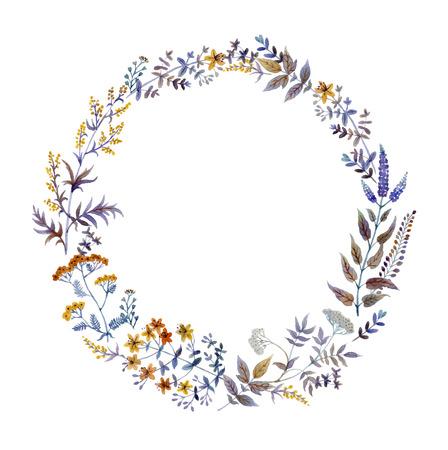verschnörkelt: Von Hand gezeichnet Aquarell floral frame im Vektor