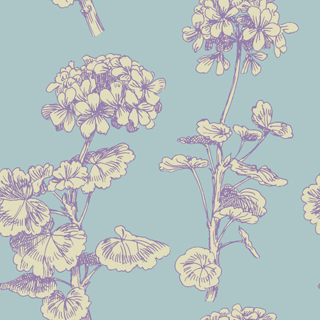 botany: Sprigs of blooming geranium. Engraved seamless pattern Illustration