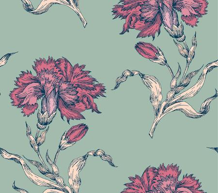 Ramitas de floración clavel. Modelo inconsútil del Grabado