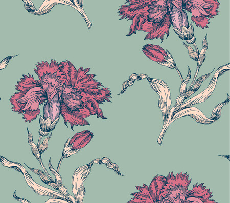 Sprigs of blooming carnation. Engraved seamless pattern