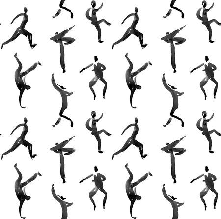 figures: human figure. seamless watercolor pattern Illustration