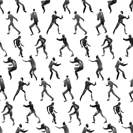 running woman: human figure. seamless watercolor pattern Illustration
