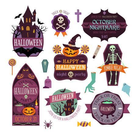 halloween skeleton: Set Of Vintage Happy Halloween Badges and Labels Illustration