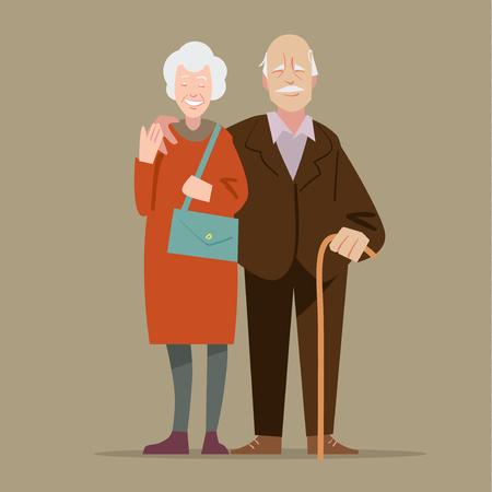 persona de la tercera edad: Abuelos felices. ilustración en estilo de dibujos animados Vectores