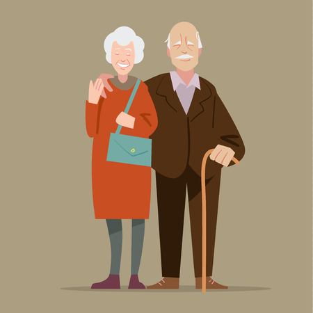 old hand: Happy grandparents.  illustration in cartoon style