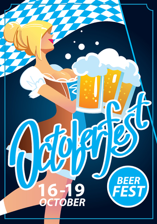 blonde: Pretty blond girl with beer, Octoberfest poster Illustration