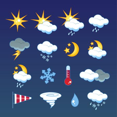 windsock: Set of 16  weather icons