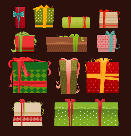 Collection of colorful Christmas present boxes.