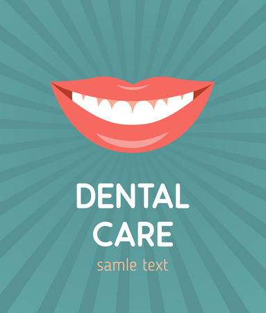 tooth icon: Beautiful smiling mouth with healthy teeth.  Illustration