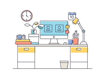 workspace: Line flat design of modern office or home workspace