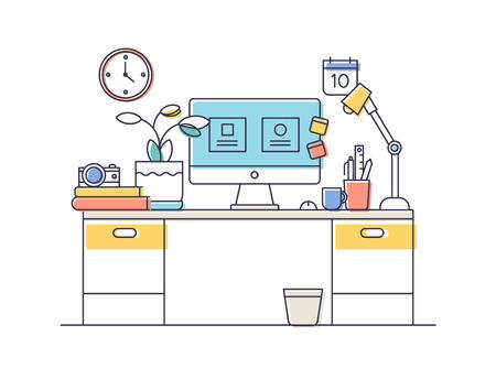 Line platte ontwerp van moderne kantoor of thuis werkruimte