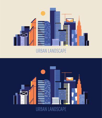 Night and day city landscape. Illustration
