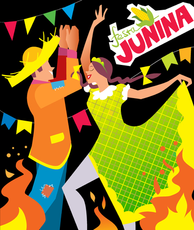 hick: Girl and boy dancing at Brazil june party. Illustration