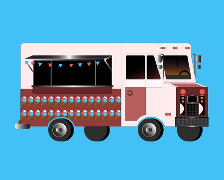 summer food: Vector flat illustration of food truck