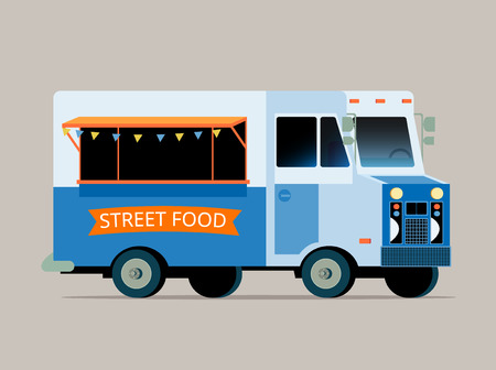 vintage truck: Vector flat illustration of food truck