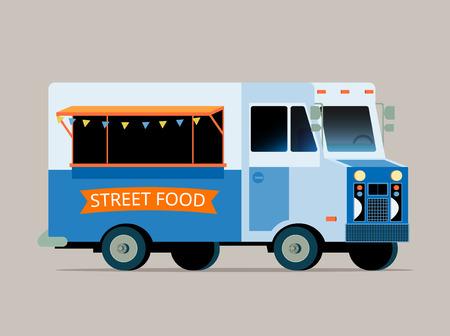 tiendas de comida: Vector plana ilustración de camión de comida