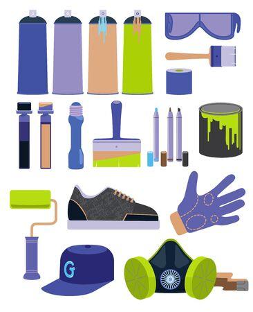 designe: Graffiti tools set in flat designe
