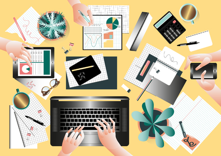 desktops: Creative team desktop top view with people working together in modern style Illustration