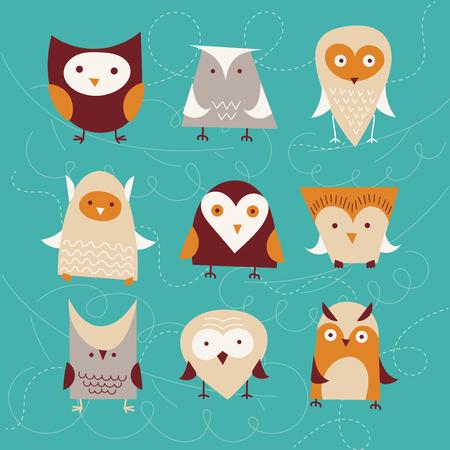 love card: set of cute cartoon owls. vector