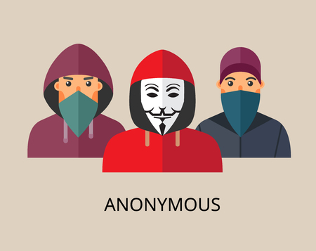 anonym: Anonymous team - isolated flat vector illustration.