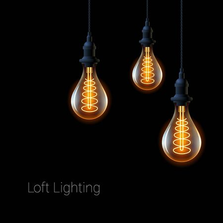 Beautiful retro light bulb in industrial style