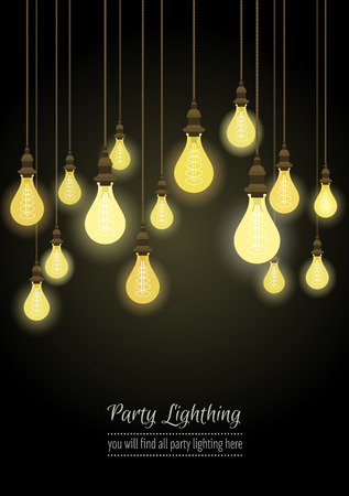 Glowing light bulbs design background