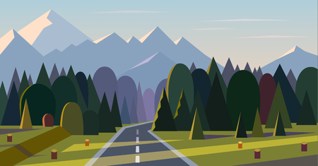 Flat design nature landscape illustration with road, forest and mountains Vectores