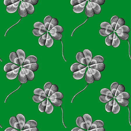 sketch pattern: Engraved seamless pattern with four leaf clover